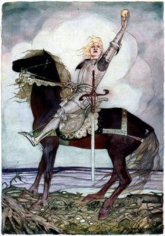"""Gustaf Tenggren for """"Iron John"""" (a variant of 'Iron Henry' or 'The Frog King,' I believe) in Grimm's Fairy Tales"""