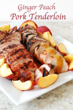 @tiffanyaking purees peaches with ground ginger, brown sugar and soy sauce to top an easy grilled pork tenderloin. What a creative (and yummy) way to use fresh summer peaches!