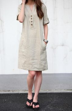 Khaki linen dress maxi dress cotton dress casual loose cotton skirt linen blouse large size dress sundress summer dress plus size shirt on Etsy, Casual Summer Dresses, Trendy Dresses, Simple Dresses, Dress Summer, Summer Ootd, Outfit Summer, Simple Dress Casual, Summer Sundresses, White Casual
