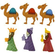 Set de botones fabricados en plástico con la forma de los tres Reyes Magos y sus camellos.