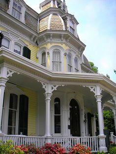 Yellow Second Empire Victorian Victorian Architecture, Beautiful Architecture, Beautiful Buildings, Beautiful Homes, Classical Architecture, Historical Architecture, Victorian Style Homes, Victorian Interiors, Victorian Cottage