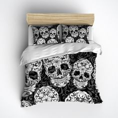 Fleece Black White and Grey Sugar Skull and Scroll Bedding