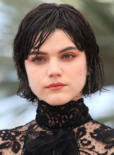 Soko's red eye make-up comes courtesy of MAC's lip pencil in Brick.