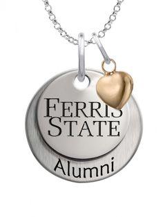 College Jewelry Ferris State Bulldogs Stainless Steel Round Cufflinks