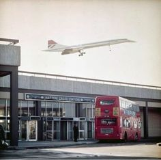 The Concorde over Hatton Cross tube at Heathrow, London, England, United Kingdom, 1972, photograph by John Wender.