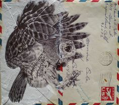 Bic Biro on vintage air mail envelope Art Print by Mark Powell Bic Biro Drawings Art And Illustration, Illustrations, Owl Art, Bird Art, Mark Powell, Biro Drawing, Envelope Art, Amazing Art, Amazing Drawings