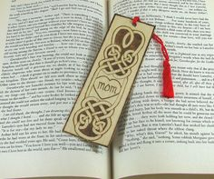 Celtic Mom Bookmark  Wood Pyrography  Wood Bookmark by bkinspired