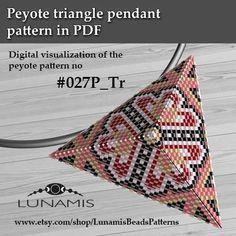 Peyote triangle patterns, pattern for triangle pendant, peyote patterns, beading, peyote stitch, digital file, pdf pattern #027P_Tr
