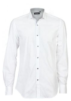Antony Morato | Mens Popeline Cotton White Shirt With Fabric Detail Thread-dyed polka dot cotton and with contrasting collar and metal logo on the back shoulder. Once crafted the shirt is treated so to obtain a stylish wrinkled effect.