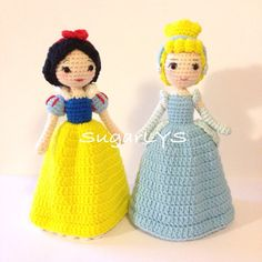 Snow white and Cinderella (designed by me) Crochet Fairy, Diy Crochet, Crochet Crafts, Crochet Projects, Amigurumi Patterns, Amigurumi Doll, Doll Patterns, Knitted Dolls, Crochet Dolls