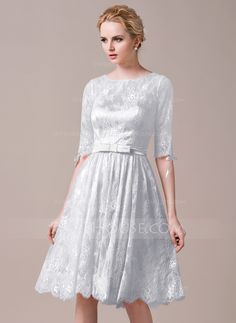 A-Line/Princess Scoop Neck Knee-Length Bow(s) Zipper Up Sleeves 1/2 Sleeves No Pearl Pink Spring Summer Fall General Plus Lace Bridesmaid Dress