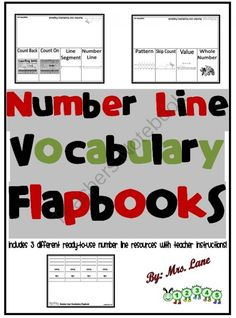 Number Line Vocabulary Flapbooks from Mrs Lane on TeachersNotebook.com -  (7 pages)  - Save your valuable time and print these number line flapbooks! It includes 3 different ready-to-use number line resources with teacher instructions.