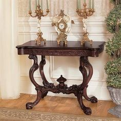 Hand-carved scrollwork and dramatic details make the Design Toscano Topsham Manor Console Table a welcome addition to your foyer or front hall. Sofa Tables, Console Table, Entryway Decor, Entryway Tables, Hall Tables, Classic Furniture, Living Room Furniture, Furniture Design, Room Decor