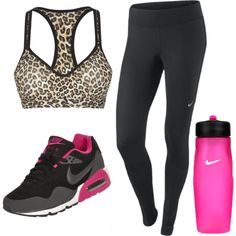 A fashion look from december 2012 featuring nike, padded sports bra and lea Sport Fashion, Fitness Fashion, Womens Fashion, Fitness Wear, Fashion Shoes, Fashion Outfits, Workout Attire, Workout Wear, Workout Outfits