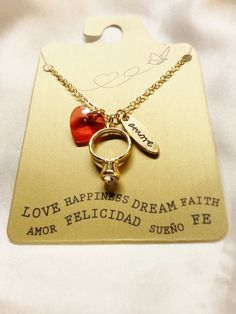 Amore Red Heart Gold Tone Engagement Ring Charm Pendant Chain Necklace New #Pendant