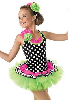 Polka Dot Halter Tutu Dress -Weissman Costumes  Combination if polka dots/stripes/vivid colours is refreshing