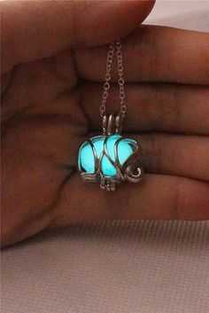 Glowing Elephant Necklace BrittaGifts by BrittaGifts on Etsy