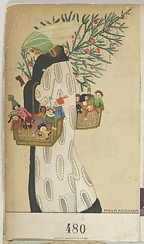 ¤ Mela Koehler (Austrian, Vienna 1885–1960 Stockholm) Wiener Werkstätte postcard #480 (1911) Color lithograph 14 x 8.9 cm WW.480. Merry Christmas.