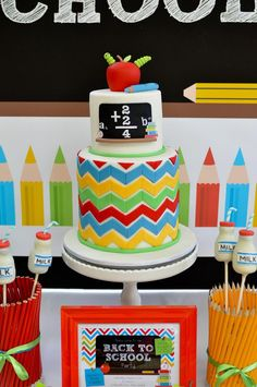 LOVE this Rainbow Chevron Cake for a Back to School Party! Found via Kara's Party Ideas | KarasPartyIdeas.com #Chevron #BackToSchool #Bookworm #Teacher #PartyIdeas #Supplies