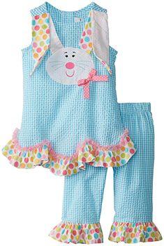 Amazon.com: Rare Editions Little Girls' Bunny Applique Seersucker Capri Set, Turquoise, 4: Clothing