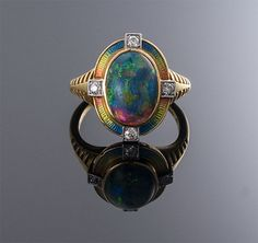 Art Nouveau Black Opal, Enamel and Diamond Ring ~ M.S. Ray Antiques
