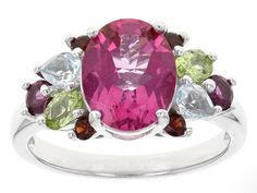 2.67ct Oval Pink Topaz With 1.16ctw Pear Shape, Oval And Round Multi-g