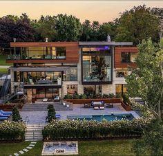 Dream Home Design, House Design, Billionaire Homes, Fancy Houses, Dream House Exterior, Waterfront Homes, Luxury Homes, Luxury Mansions, Detached House