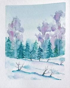 Paysage enneigé d'hiver à la peinture aquarelle #aquarelle #peinture Creations, Diagram, Map, Painting, Easy Watercolor, Watercolor Painting, Watercolour Paintings, Winter, Paintings