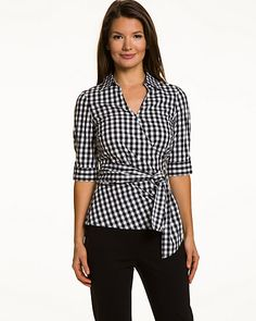 Stretch Poplin Gingham Overlap Blouse