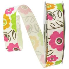 "the Ribbon Boutique 5/8"" Lime & Orange Floral Ribbon 
