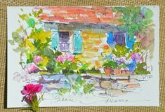 France watercolor postcard by Dreama Tolle Perry