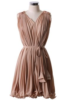 Peach Pleated Dress with Belt - Party - Dress - Retro, Indie and Unique Fashion