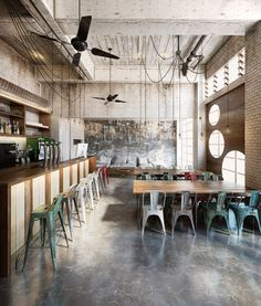 Exposed brick and industrial seating coffee shop design, cafe design, store Restaurant Design, Deco Restaurant, Rustic Restaurant, Industrial Restaurant, Vintage Restaurant, Restaurant Chairs, Café Bar, Coffee Shop Design, Cafe Design