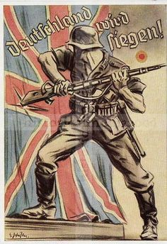 "Germany posted this propaganda during WWII to encourage its citizens that they will win the war. The words are ""Germany will be triumphant."""