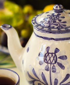 The Artichoke design is our newest #design. It features a stylised #artichoke motif in blue, with a matching blue borders. All our ceramics are #handmade and #handpainted by our #artisans here in the #Algarve Available from www.porchespottery.com  #teapot
