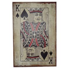 Perfect for the game room or gallery wall, this eye-catching wood decor features a playing card-inspired motif with distressed details.