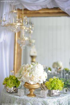 Elegant Gold, Green, and Ivory Wedding Table Idea / Alders Photography / via StyleUnveiled.com
