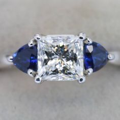 1.5 carat princess cut diamond with sapphire accents - this is my dream ring!!!