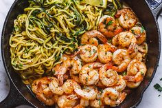 Lemon Garlic Butter Shrimp with Zucchini Noodles – HEAVENLY! These delicious shrimps make a fantastic complete meal with healthy zucchini noodles. The aroma and flavor of the lemon garlic but… meal ideas Shrimp Recipes Easy, Seafood Recipes, Dinner Recipes, Keto Recipes, Easy Recipes, Delicious Recipes, Skillet Recipes, Skillet Meals, Cooker Recipes