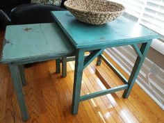 Gem Turquoise (500B-4) is the color of the larger table. Embellished Blue (510D-4) is the smaller one. Both are Behr paint colors.