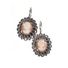 Arya Italian Jewels - Orecchini Argento Donna con Cammeo in Corniola - Women Cameo Silver Earrings with Carnelian