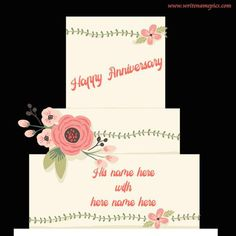 we are searching for anniversary wishes cake with name free pic. writenamepics provide best collection of happy anniversary cake images with name free. online wishes happy anniversary cake photo. Wedding Anniversary Cake Image, Happy Marriage Anniversary Cake, Anniversary Cake Pictures, Happy Anniversary Wishes, Greeting Card Maker, Online Greeting Cards, Cake Images, Red, Baby