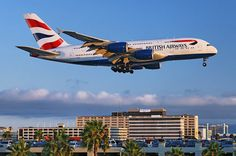 A British Airways Airbus A380-841 superjumbo moments from touchdown at the Los Angeles International Airport, LAX, in Westchester, Los Angeles, California. Photo by Gunnar Kullenburg