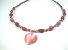 Elegant Dusty Rose Jade Heart Necklace by cynhumphrey on Etsy, $21.99