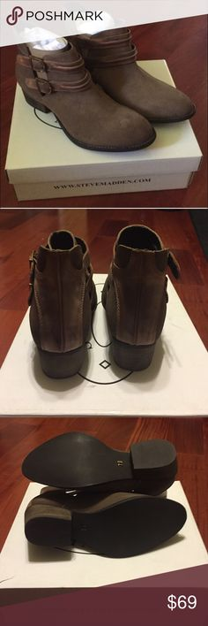 """💥 NEW STEVE MADDEN SUEDE ANKLE BOOTIES BOOTS Brand new, unworn in box STEVE MADDEN suede ankle booties boots shaped with buckle detail.  Size: 7 Stacked heel, 2"""" Cognac Suede upper Almond toe Buckle detailing Synthetic lining and sole Padded sole Imported Steve Madden Shoes Ankle Boots & Booties"""