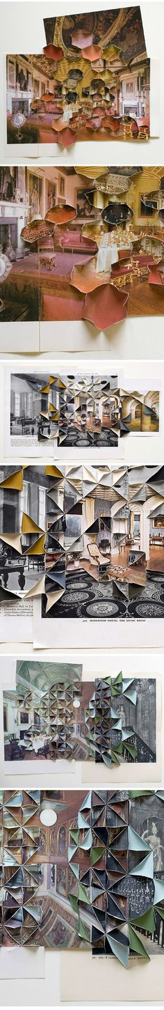 "Abigail Reynolds. ""Series of Interiors, so much! Apparently she layers the pages of old books, makes a few cuts here and there, does some sort of fancy geometric folding thing, and voilà! Yeah, I know… I have no idea how she does it."" via the jealous curator"