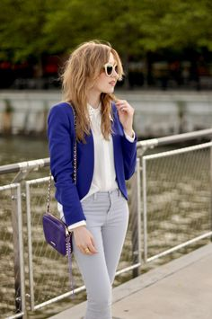 for the blouse, blazer, and jeans