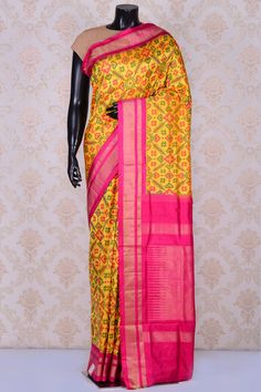 Golden yellow rich patola silk saree with deep pink & dull gold border-SR19860 - Pure Patola/Ikkat Silk - PURE HANDLOOM SILK SAREE - Sarees South Silk Sarees, Golden Yellow, Ikat, Kimono Top, Sari, Deep, Pure Products, Pink, How To Wear