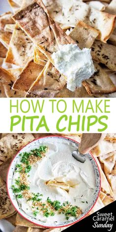 Easy Homemade Pita Chips are for dipping! Oven Baked and simple this easy pita chips recipe is fuss free entertaining! Vegetarian Appetizers, Savory Snacks, Yummy Snacks, Appetizer Recipes, Snack Recipes, Cooking Recipes, Yummy Food, Drink Recipes, Delicious Recipes