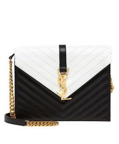 Monogramme Bicolor Envelope Bag, Black/White by Saint Laurent ~ Cynthia Reccord